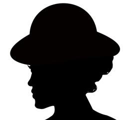 silhouette de jeune femme au chapeau rond