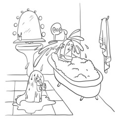 Woman lying in the bath, vector illustration