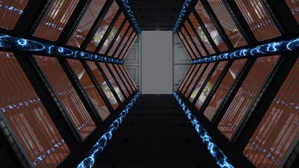 Corridoio passaggio nave spaziale fantascienza