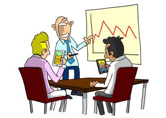 People using smart phones at boring meeting