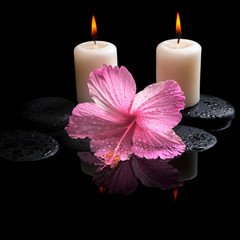 Beautiful spa concept  of delicate pink hibiscus, candles, zen s