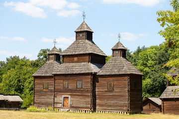 Wooden ukrainian antique orthodox church