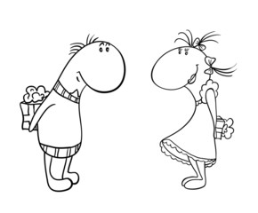 cartoon characters,  male and female give each other gifts