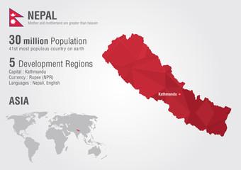 Nepal world map with a pixel diamond texture.