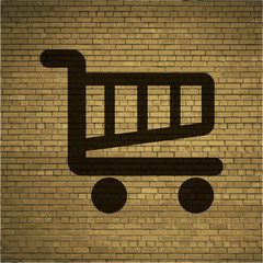 Shopping basket. Flat modern web button and space for your text.