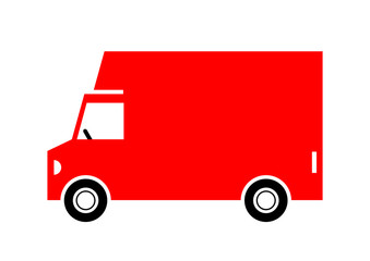 Delivery van on white background