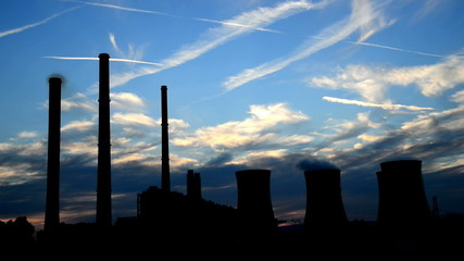 silhouette of power station, time lapse,