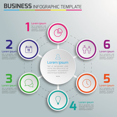 6-Step process infographics light vector background