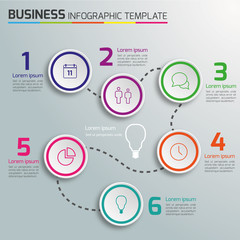 6-Step way process infographics light vector background