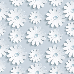 Floral seamless pattern with white chamomile