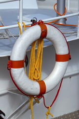 Life preserver on a boat