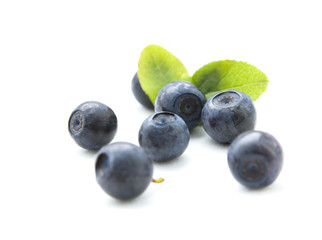 Fresh blueberries with leaves isolated