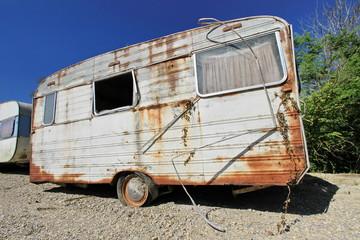 Old abandoned caravan