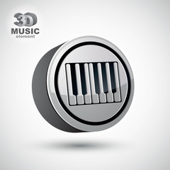 Piano keyboard vector icon isolated, 3d music theme