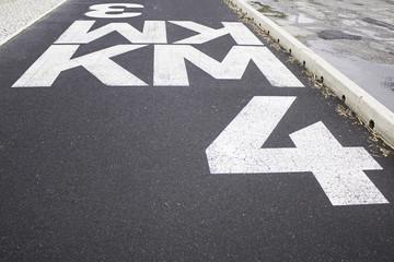 Sign kilometer road
