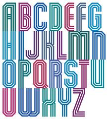 Triple stripe geometric font, retro style typeface