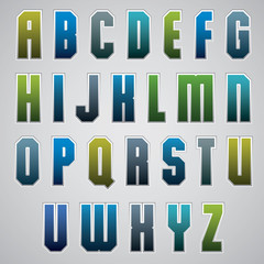 Vector geometric alphabet, bold and condensed font