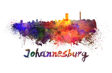 Johannesburg skyline in watercolor
