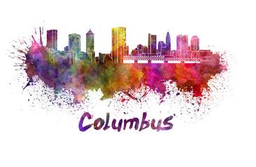 Columbus skyline in watercolor