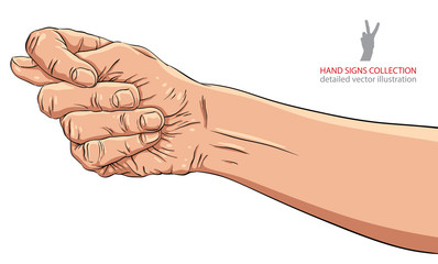 Fig fico hand sign, detailed vector illustration.