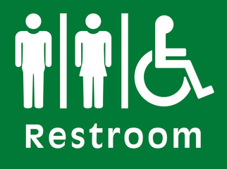 sign restroom, green