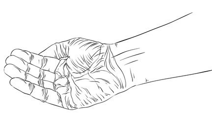 Begging hand, detailed black and white lines vector illustration