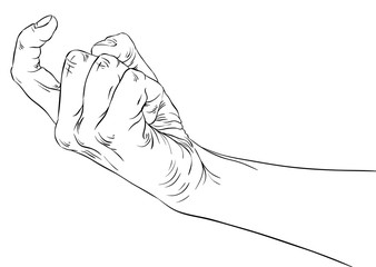 Come on hand sign, detailed black and white lines vector