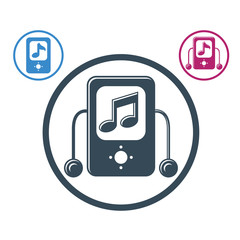 Mp3 player round icon isolated, single color vector music theme