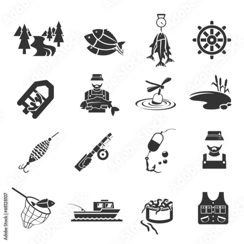 Set of Fishing Icons - 68128107
