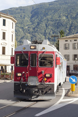 Train in Tirano city, Italy.