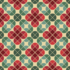 Seamless vintage tiles background with stylized flowers.