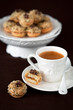 Cookies with jam and nuts, selective focus