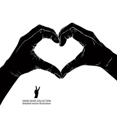 Hands in heart form, detailed black and white vector illustratio