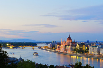 The Hungarian Parliament Building by the Danube River