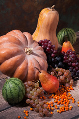 Autumn gourds, grapes and melons