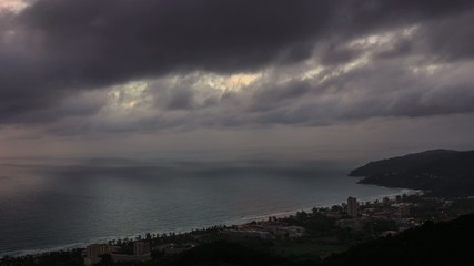 HD Time lapse. moving clouds over ocean in Karon beach, Thailand