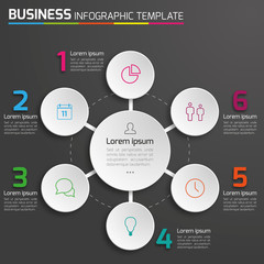 6-Step process infographics dark vector background