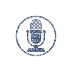 Retro microphone vector icon with hand drawn lines texture.