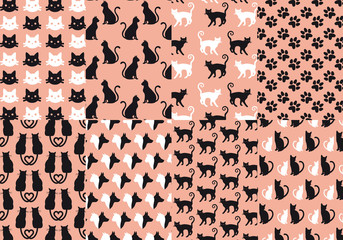 cat and dog seamless pattern, vector set