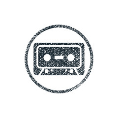 Audio cassette tape vector icon with hand drawn lines texture.
