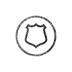 Shield simple vector icon with hand drawn lines texture.