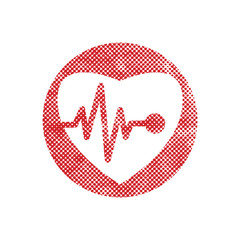 Cardiology icon with heart and cardiogram, vector icon