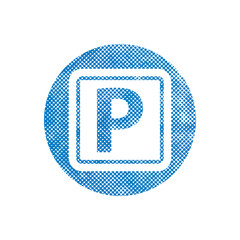 Isolated Parking Sign with pixel print halftone dots texture.