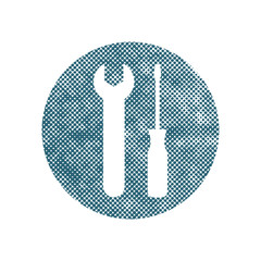 Repair icon with wrench and screwdriver, vector pixel symbol