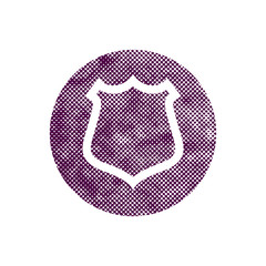 Safety vector shield icon with pixel print halftone dots texture