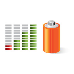 Battery with power indicator, energy saving concept