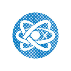 Atom part vector icon with pixel print halftone dots texture.