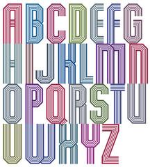 Retro stripe geometric font, retro style typeface
