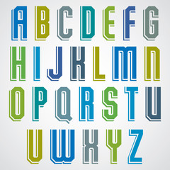 Vector geometric alphabet, condensed font in retro poster style.