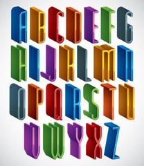 3d font, vector tall thin letters, geometric alphabet